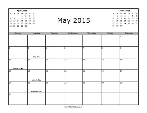 Calendar May 2015 May 2015 Calendar With Holidays Free Printable