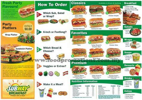 subway picture menu picture fast food menus pinterest