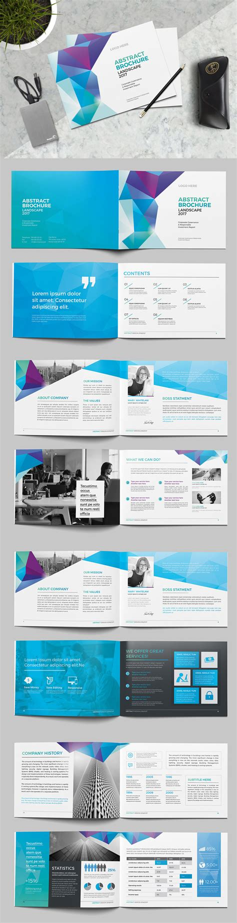 Abstract Landscape Brochure Template Indesign Indd Brochure Design Templates Brochure Indesign Landscape Template
