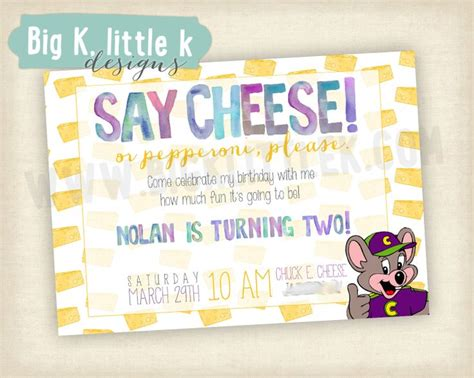 printable birthday invitations chuck e cheese chuck e cheese birthday invitation by bigklittlekdesigns