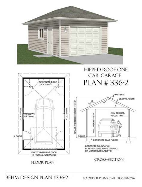 hip roof garage plans hipped roof 1 car garage plan no 336 2 by behm design 14