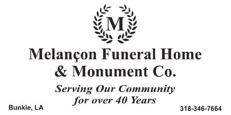 melancon funeral home monument co bunkie