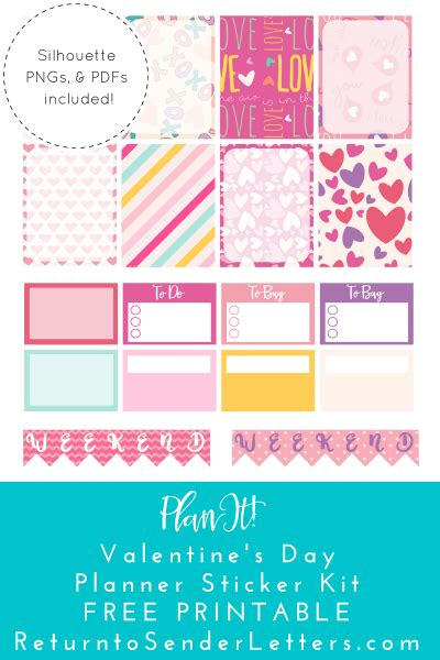 free printable valentines planner stickers return to sender letters to the world planit valentine