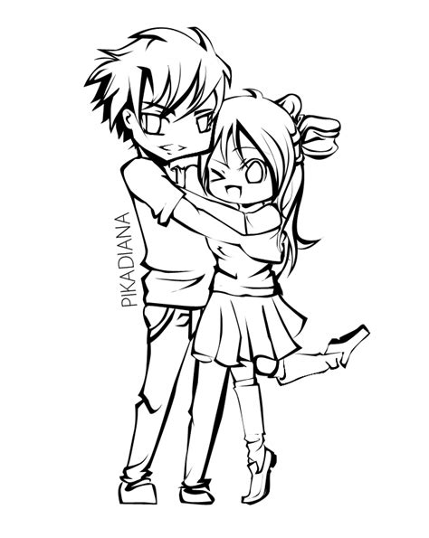 anime couple lineart by diana hiwatari on deviantart