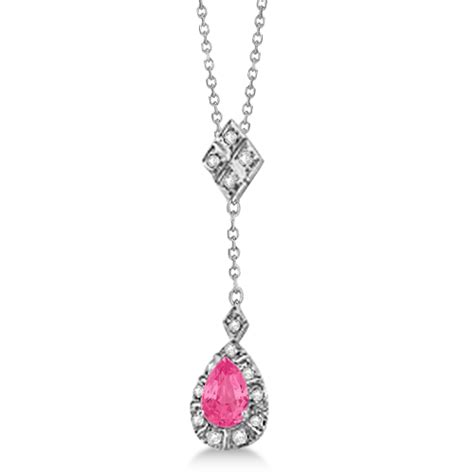 Topaz 7 56ct and pink tourmaline pendant necklace 14k white