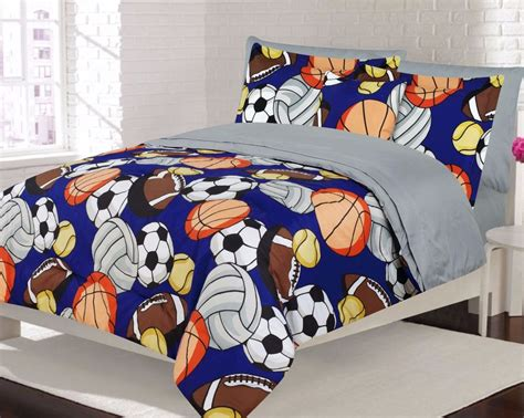 boys bedding twin or full comforter and sheet set sports