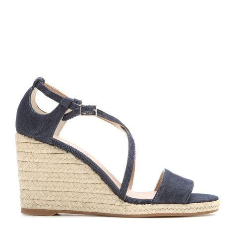 simmons sandals simmons liu denim wedge sandals in blue lyst