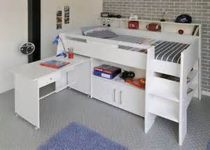 avenue swan white mid sleeper bed with pull out desk