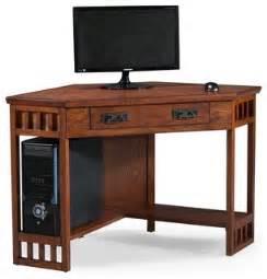 Oak Corner Computer Desks For Home Mission Oak Corner Computer Desk Craftsman Desks And Hutches By Leick Home