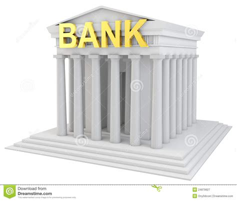 d bank banking 3d bank building with golden sign stock illustration