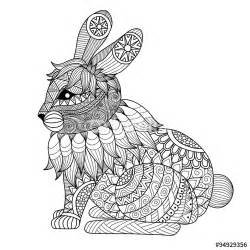 drawing zentangle rabbit coloring shirt design effect logo tattoo decoration