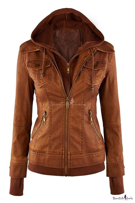 Faux Leather Jacket by Womens Hooded Faux Leather Jacket Beautifulhalo