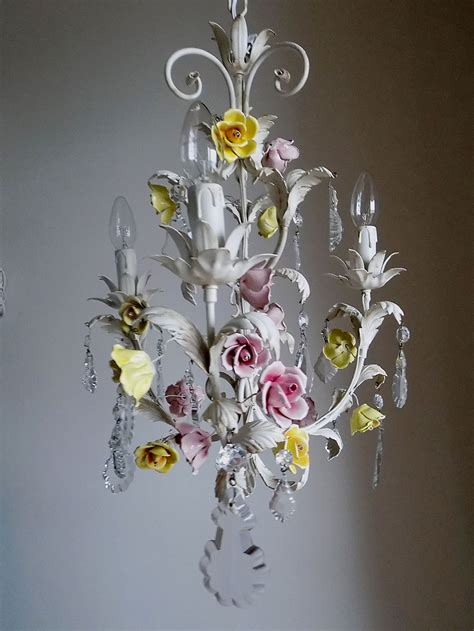 italian vintage chandelier with porcelain flowers