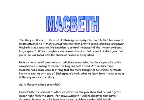 themes in the story macbeth the story of macbeth like most of shakespeare s plays