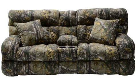 Camo Reclining Sofa Appalachian Lay Flat Reclining Console Loveseat In Mossy Oak Or Realtree Camouflage Fabric By