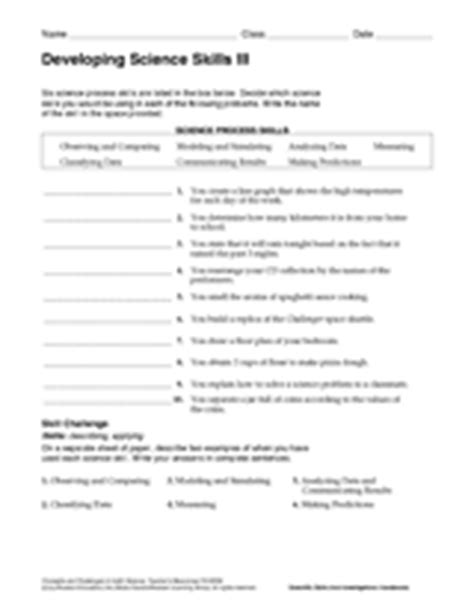 Science Process Skills Worksheets Printable by Developing Science Skills Iii Teachervision
