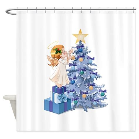 angel shower curtains christmas tree angel shower curtain by wingspiration