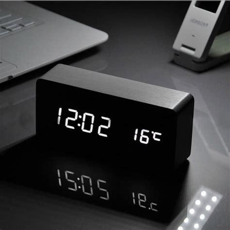 digital desk clock voice wooden box led alarm clock digital desk