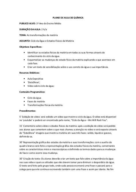 Plano de aula quimica curso