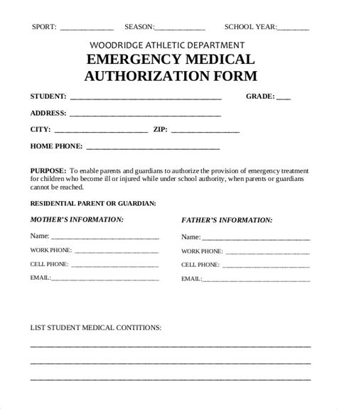 emergency medical form template medical form templates