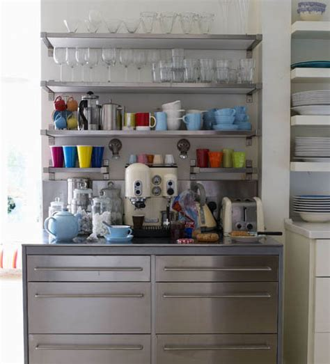 retro modern kitchen decorating ideas open kitchen shelves for storage