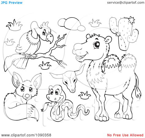 coloring page of desert animals desert habitat clipart 39