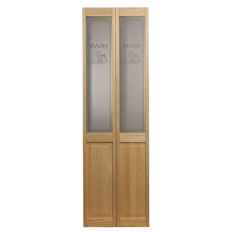 Bi Fold Doors Glass Panels Pinecroft 32 In X 80 In Pantry Glass Raised Panel Pine Interior Bi Fold Door 874628 The