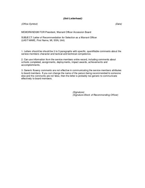 Letter Of Recommendation Army letter of recommendation template best template