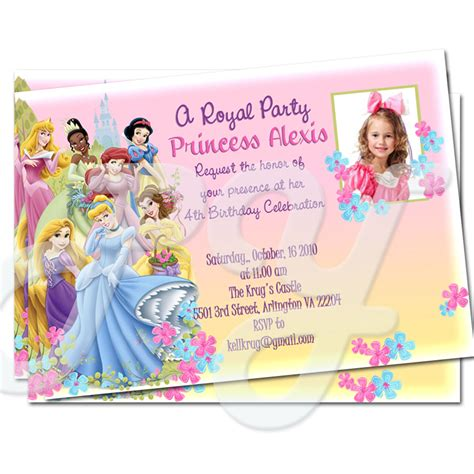 disney princess birthday invitations custom disney princess personalized invitations