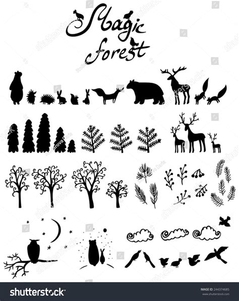 Magicforest Set magic forest set with silhouettes of animals stock vector