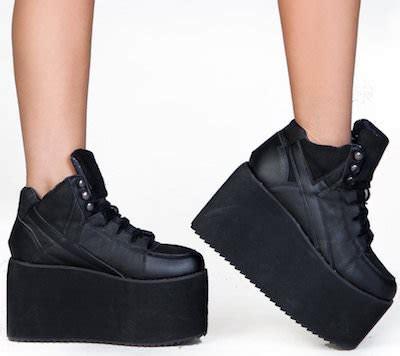 s black high platform sneakers