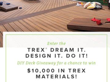trex dream it design it do it diy deck giveaway sweepstakes - Do It Yourself Sweepstakes