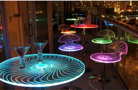 modern home interior with colorful led lighting modern acrylic multi color led light up round pub bar