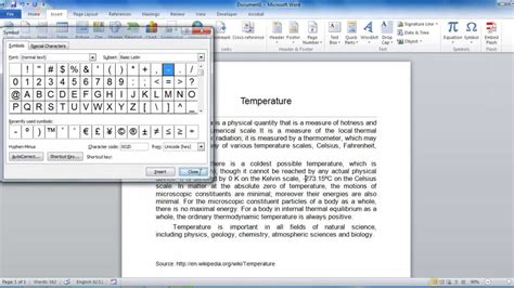 how to insert degree symbol and other symbols in word