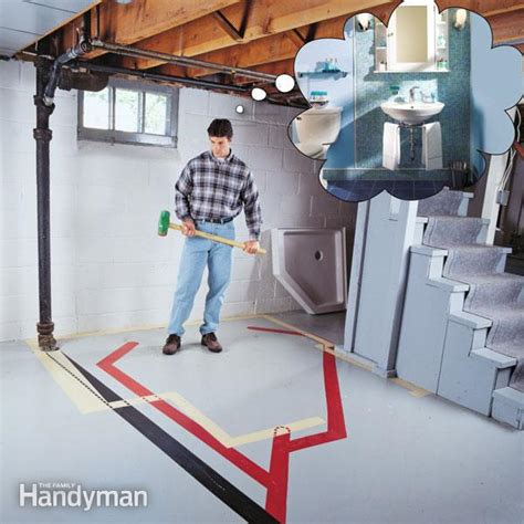 putting a bathroom in a basement how to plumb a basement bathroom the family handyman