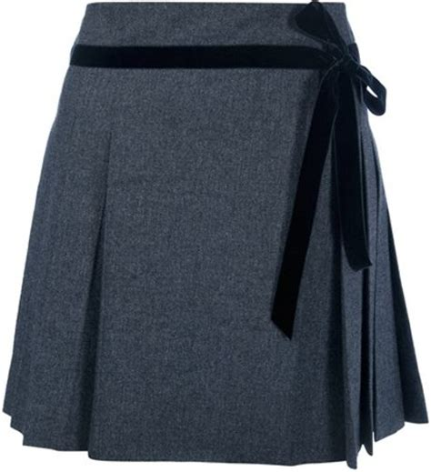 valentino pleated skirt in gray grey lyst