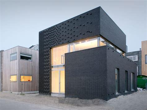 textured front facade modern box home modern facade boxes house concept brick minimalist style