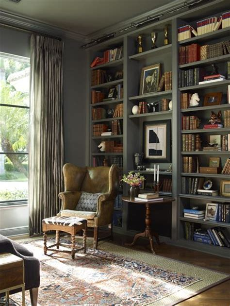 library with painted bookshelves antiques and zebra leather wingback kate jackson design i