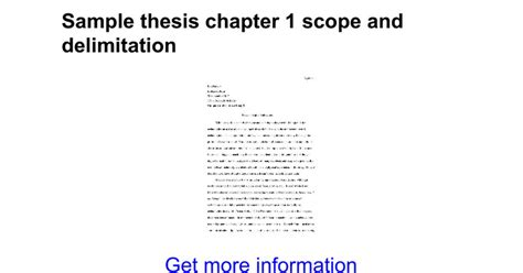 exle of scope and delimitation in research paper sle thesis chapter 1 scope and delimitation docs