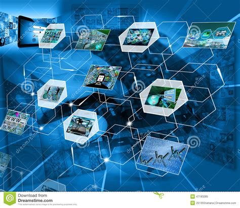 computer network themes reflection in the network stock illustration image 47183285