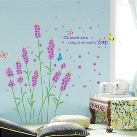 Hanging Lavender Wall Sticker Am7014 Purple Lavender And Butterfly Wall Stickers Sitting Room Wall Decor Wall Decals Diy Vinyl