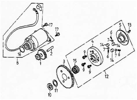Gear Starting Starter Driven Reduction Shaft Sonic 150 R Fi Stater starting motor lambretta uno150