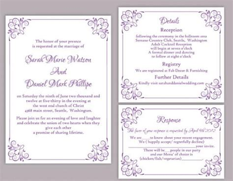 Diy Wedding Invitation Template Set Editable Word File Instant Download Printable Floral Editable Wedding Invitation Templates Free