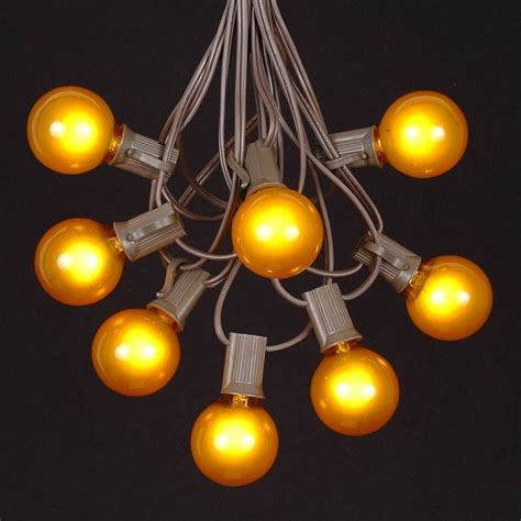 Yellow G40 Globe Round Outdoor String Light Set On Brown Yellow String Lights