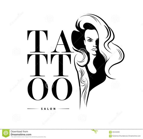 tattoo logo design salon logo template stock vector image 65343206
