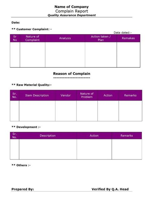 qa qc report template complain report qa qc