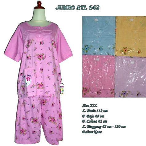 Stelan Baju Tidur 3 4 All Size baju tidur setelan jumbo celana pendek 642 hanya rp 46 000 00