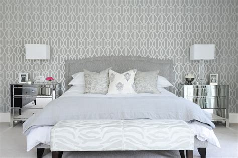 grey and white bedroom wallpaper gray bedroom with mirrored nightstands transitional