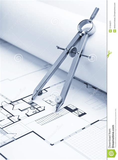 drawing floor plans by drawing compass on blueprint floor plans stock image
