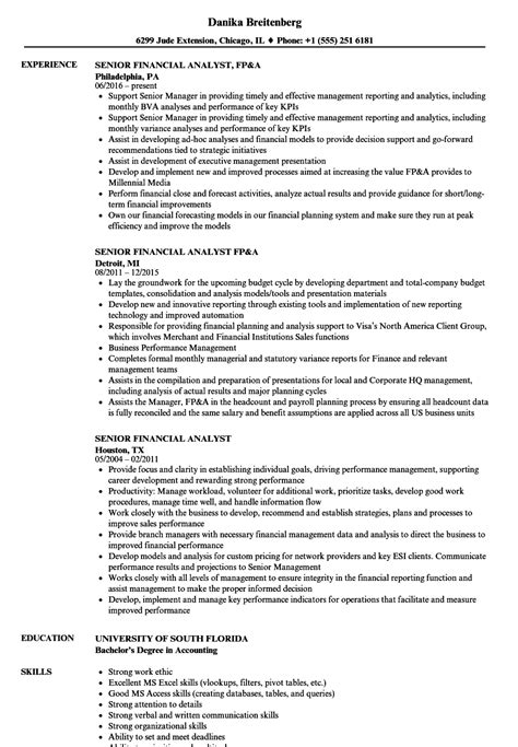 Senior Financial Analyst Resume by Senior Financial Analyst Resume Sles Velvet